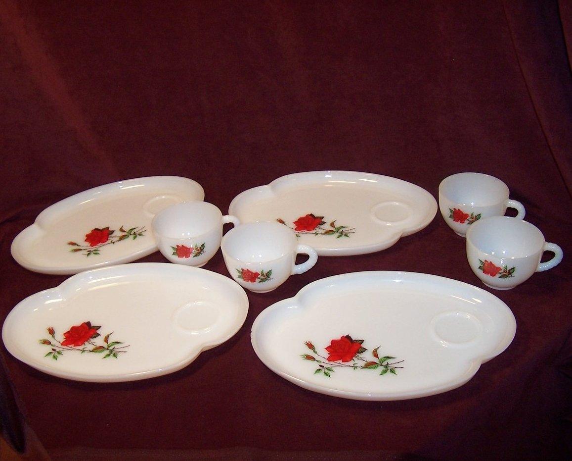 Snack Plate Federal Glass Rosecrest Milk Glass Teacup Set