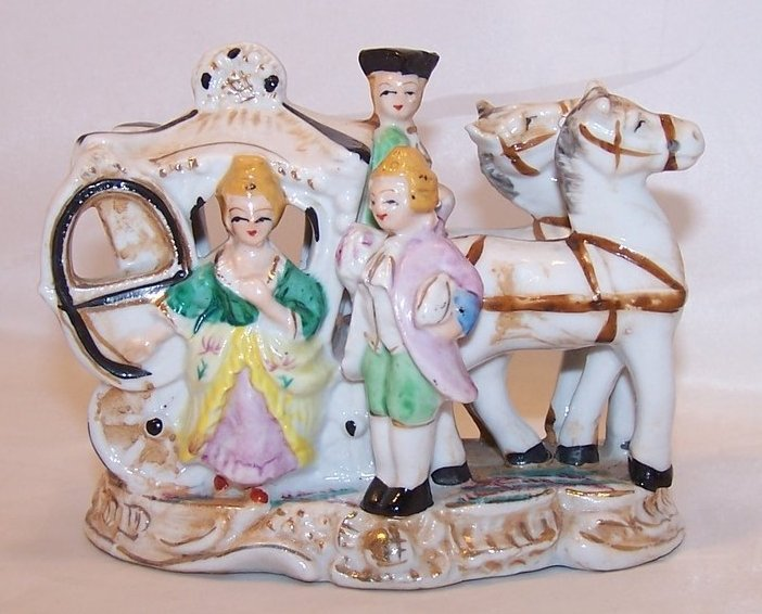 Gilded Colonial Carriage w Horses, People Figurine, Japan Japanese