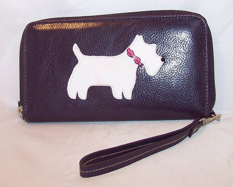 Scottie Dog Clutch Purse, Zipper Close, Strap Handle