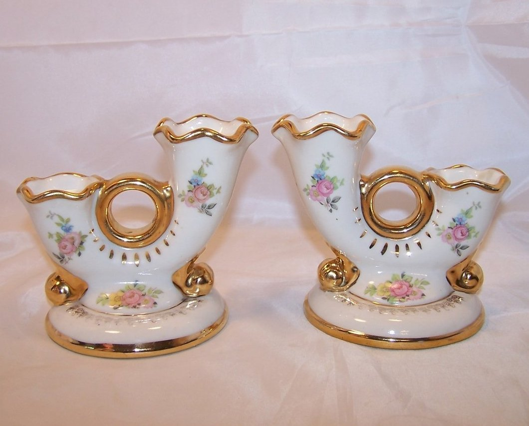 Abingdon Double Holder Gilded Candlesticks, Porcelain, U.S.A.