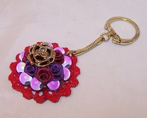 New Red Hat Keychain w Purple Beads, Roses