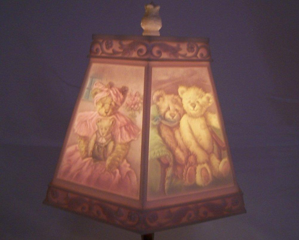 Teddy Bear Lamp W Bear Scene Shade Nursery Or Desk