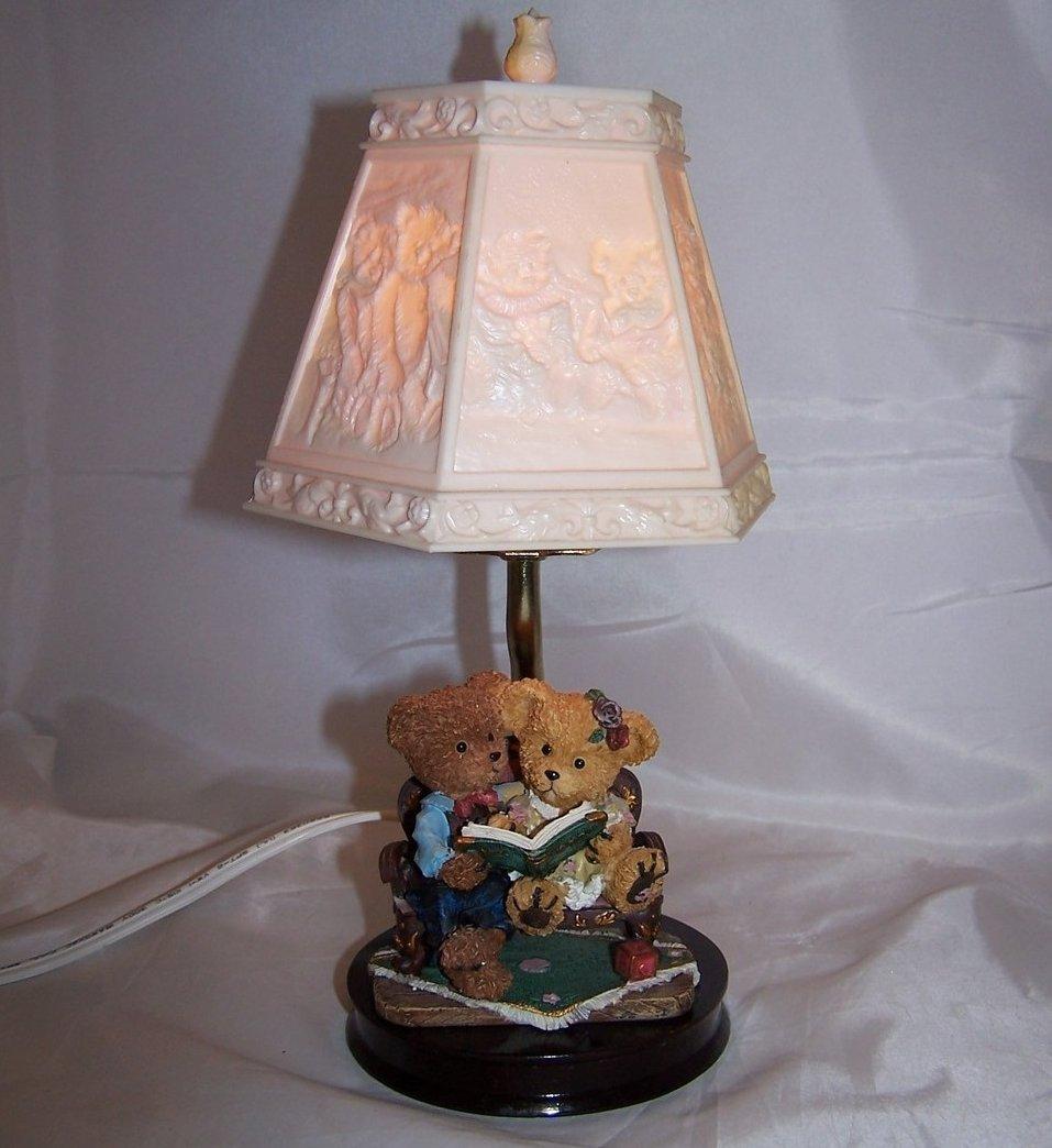 Teddy Bear Lamp W Bear Scene Shade, Nursery Or Desk