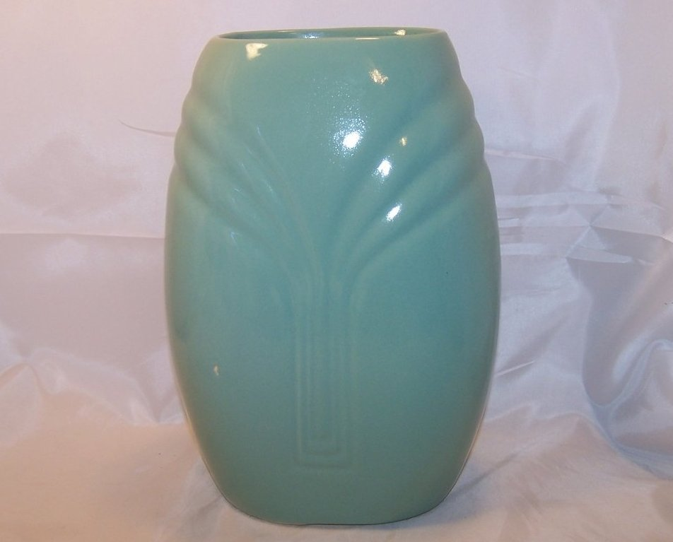 Image 1 of Roseville Large Green Art Deco Vase