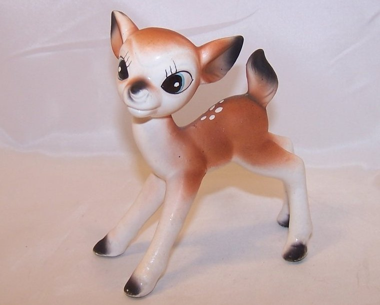 Cute Cross Eyed Deer, Spotted Fawn Figurine, Japan Japanese