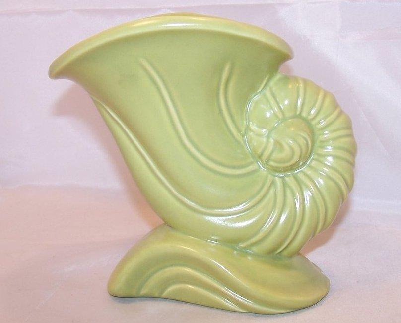 Haeger Cornucopia Vase, Green