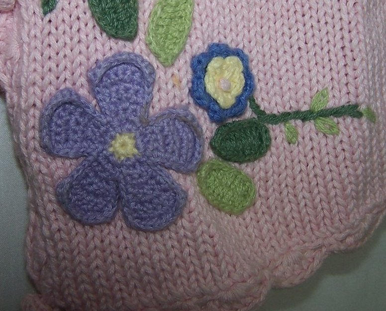 Knitting On The Net Buttonhole : Sz long sleeved knit sweater button front pink w