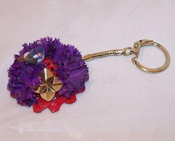 New Red Hat Keychain w Little Bird, Purple Flowers, Sparkly