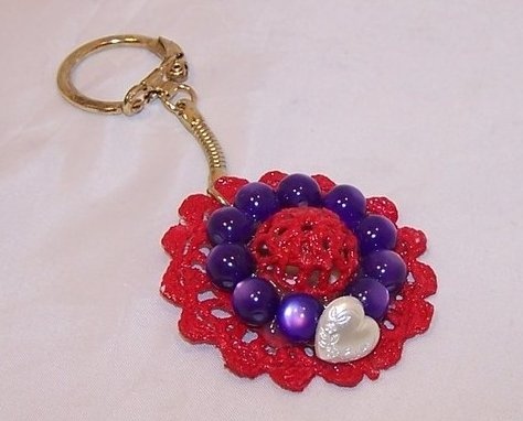 New Red Hat Keychain w White Heart, Purple Beads
