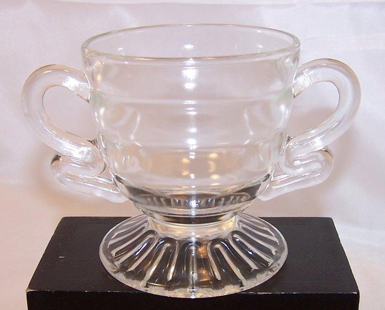 Pressed Glass Sugar Bowl w Double Loop Handles, Vintage