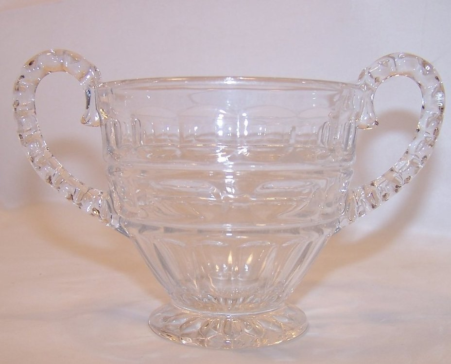 Pressed Glass Sugar Bowl w Bubble Handles, Vintage