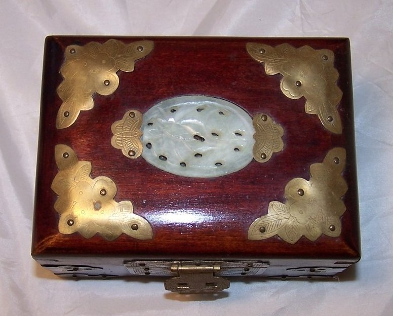 Jewelry Box, Brass Accents, Carved Stone, Cherry Wood Finish