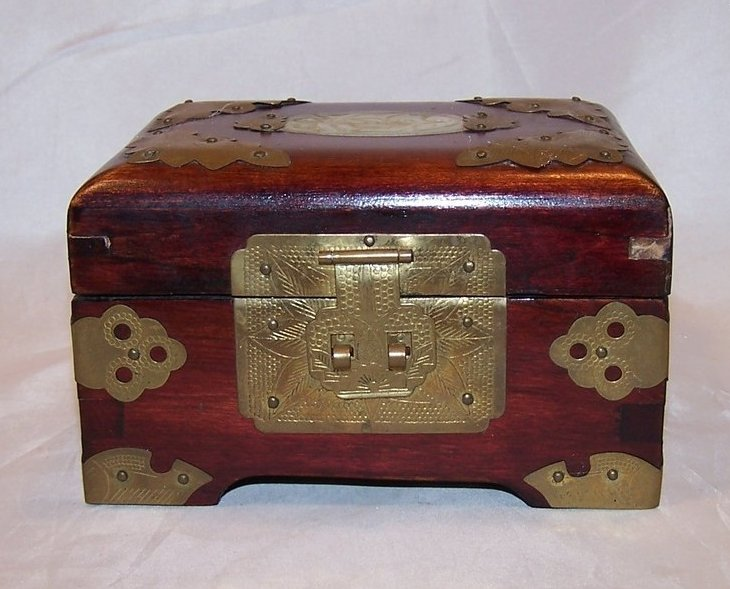 Image 1 of Jewelry Box, Brass Accents, Carved Stone, Cherry Wood Finish