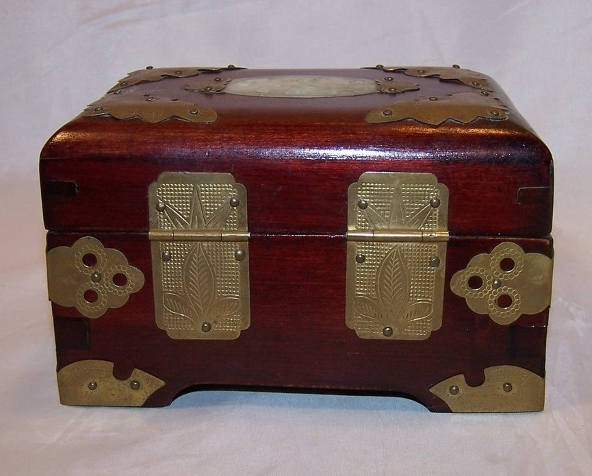 Image 2 of Jewelry Box, Brass Accents, Carved Stone, Cherry Wood Finish