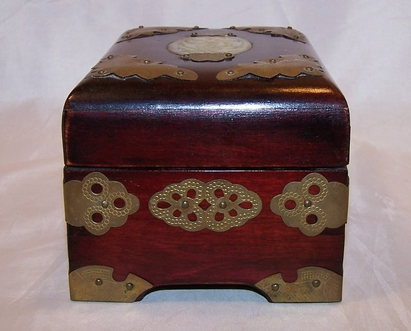 Image 3 of Jewelry Box, Brass Accents, Carved Stone, Cherry Wood Finish