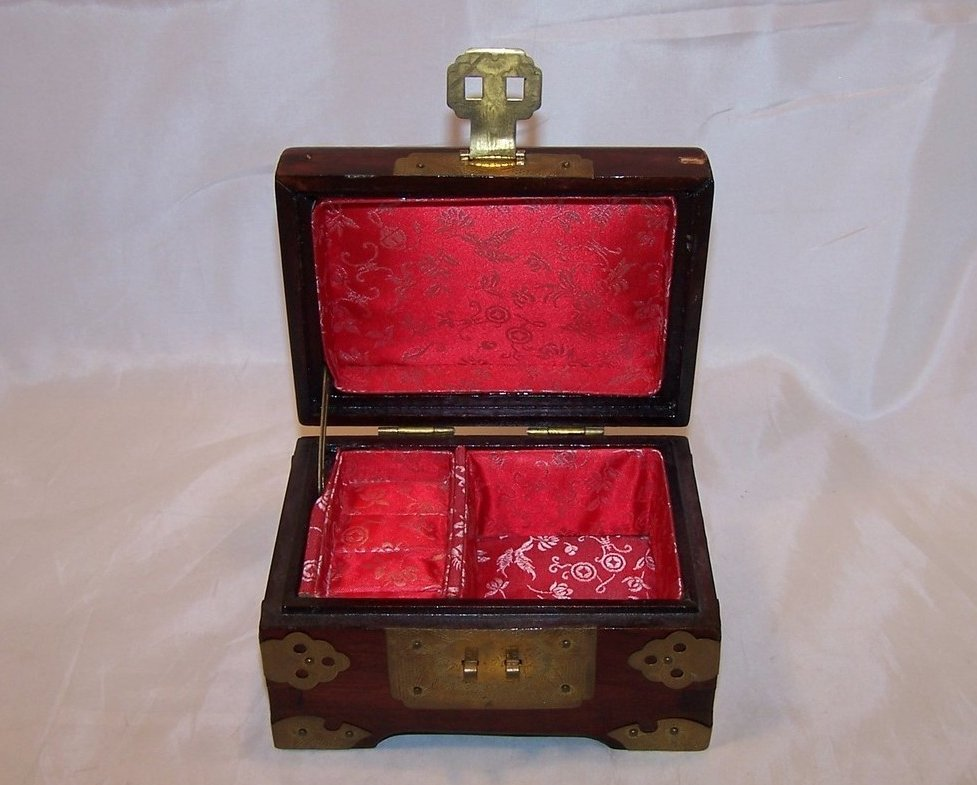 Image 4 of Jewelry Box, Brass Accents, Carved Stone, Cherry Wood Finish