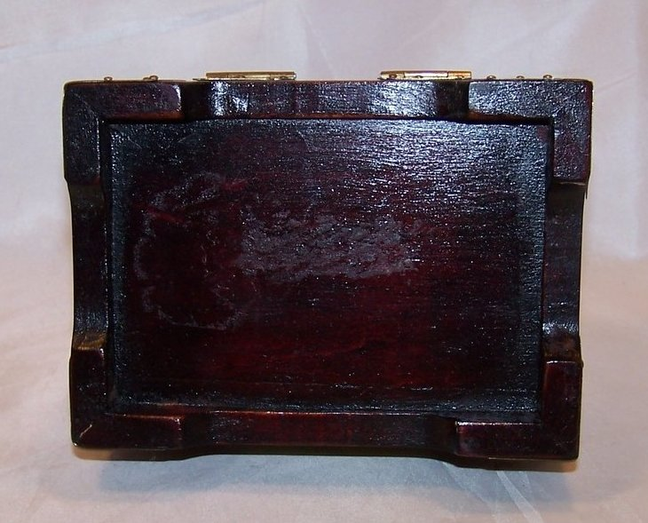 Image 5 of Jewelry Box, Brass Accents, Carved Stone, Cherry Wood Finish