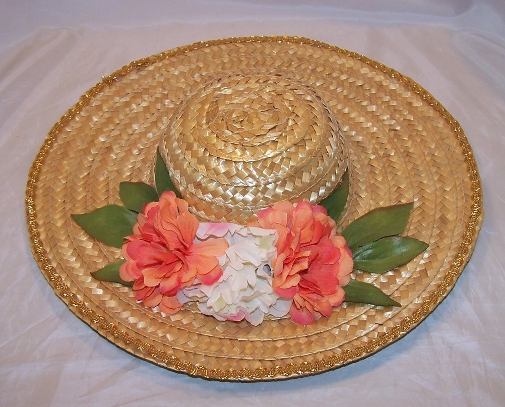 New Straw Hat w Gold Braid, Flowers, Leaves