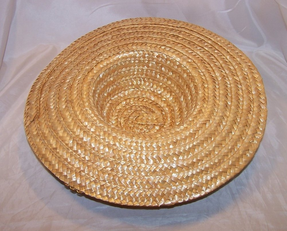 Image 1 of New Straw Hat w Gold Braid, Flowers, Leaves