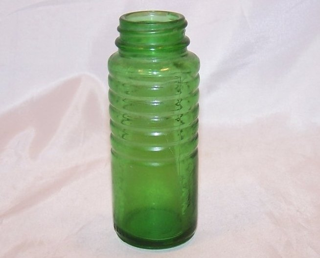 Antique Green Glass Bottle w Ridges, C 2057
