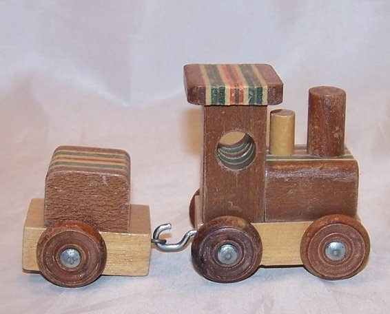 Image 0 of Train Locomotive, Caboose of Layered Colored Wood, Woods