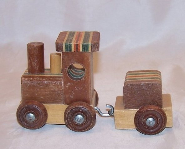 Image 2 of Train Locomotive, Caboose of Layered Colored Wood, Woods