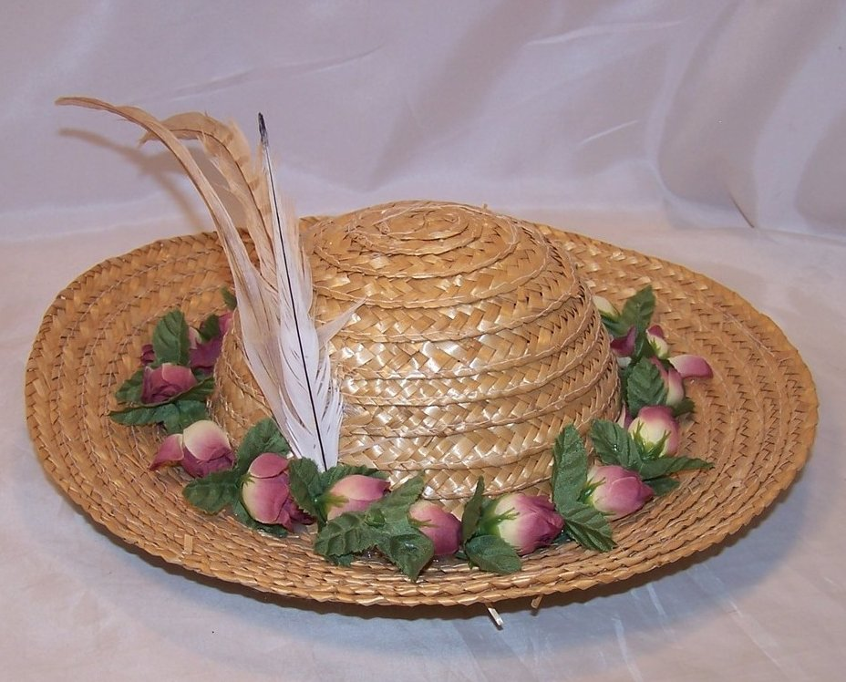 New Straw Hat w Pink Roses and Feathers