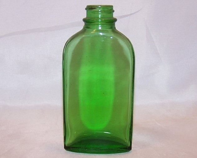 Green Glass Bottle w Vertical Ridges, Vintage