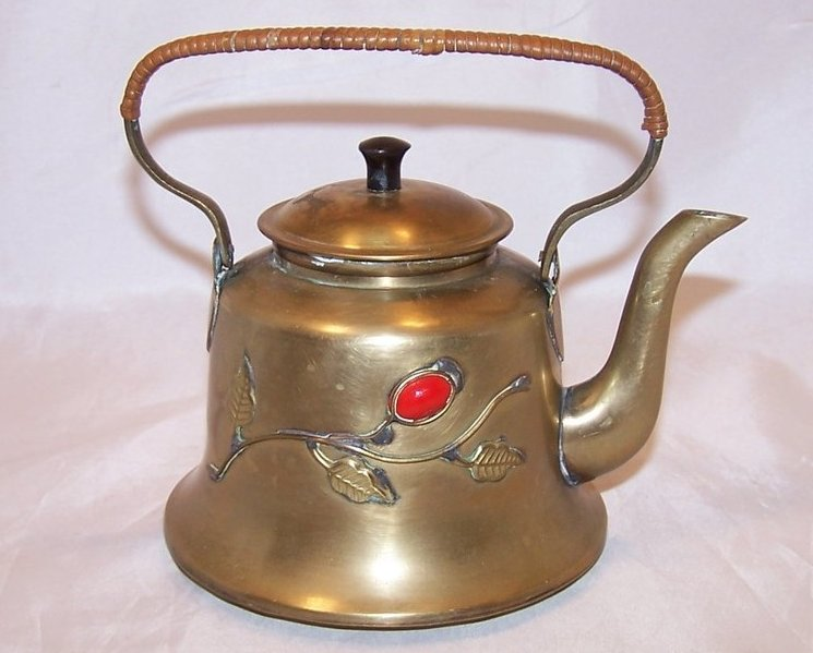 Brass Teapot Tea Pot w Decoration, China Chinese