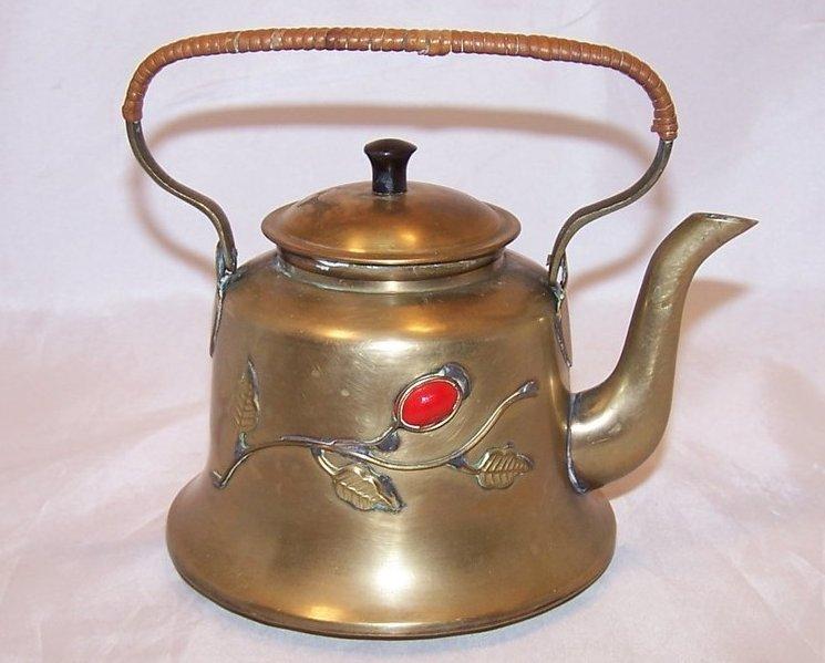 Brass Teapot Tea Pot w Decoration, China Chinese