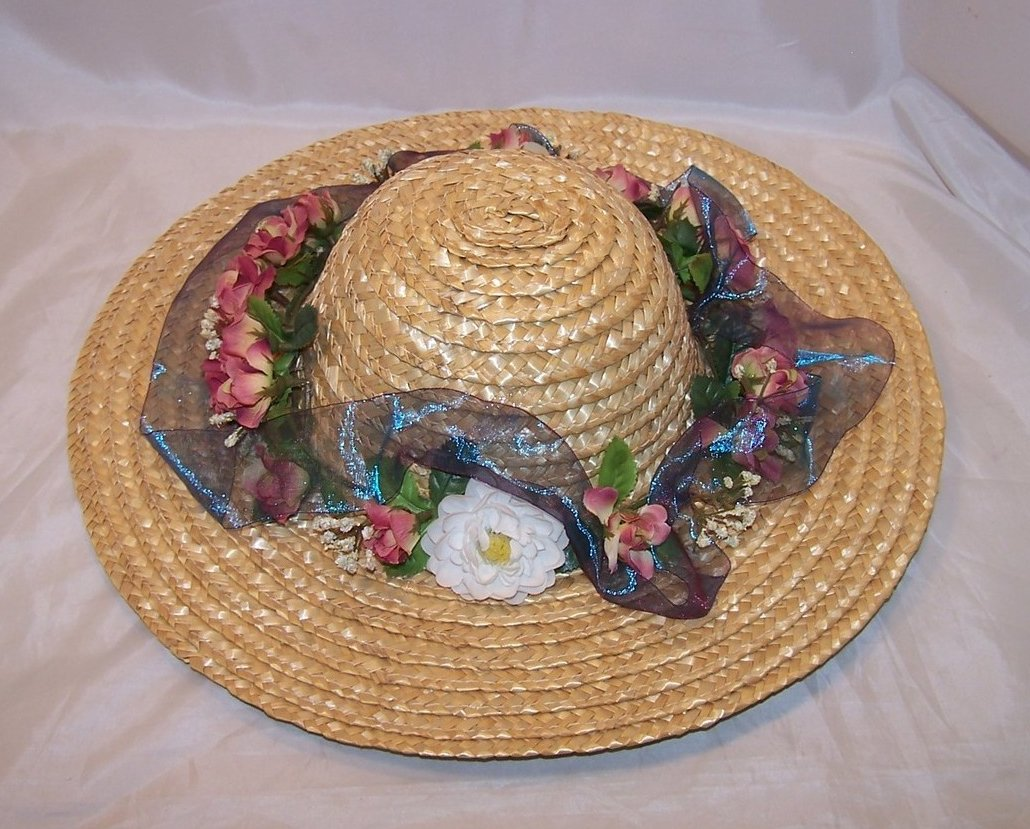 New Straw Hat w White Carnation, Roses, Babys Breath, Ribbon