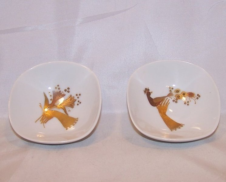 Rosenthal Mint, Nut Dish Dishes, Gold and Copper Flower, Peacock Design