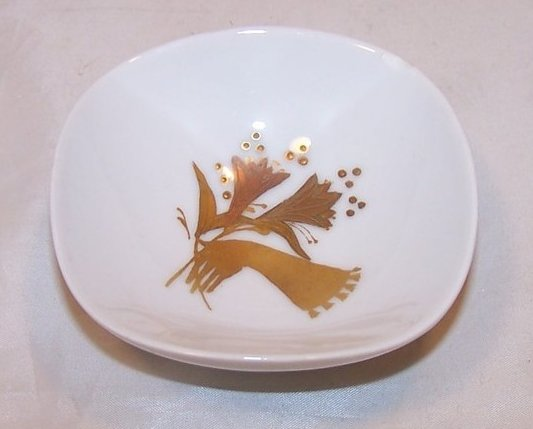 Image 1 of Rosenthal Mint, Nut Dish Dishes, Gold and Copper Flower, Peacock Design