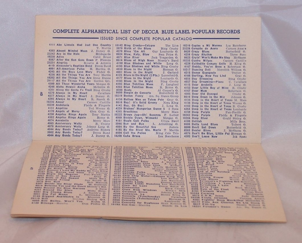Image 1 of Decca Records Combined Supplement and Catalogue, Vintage
