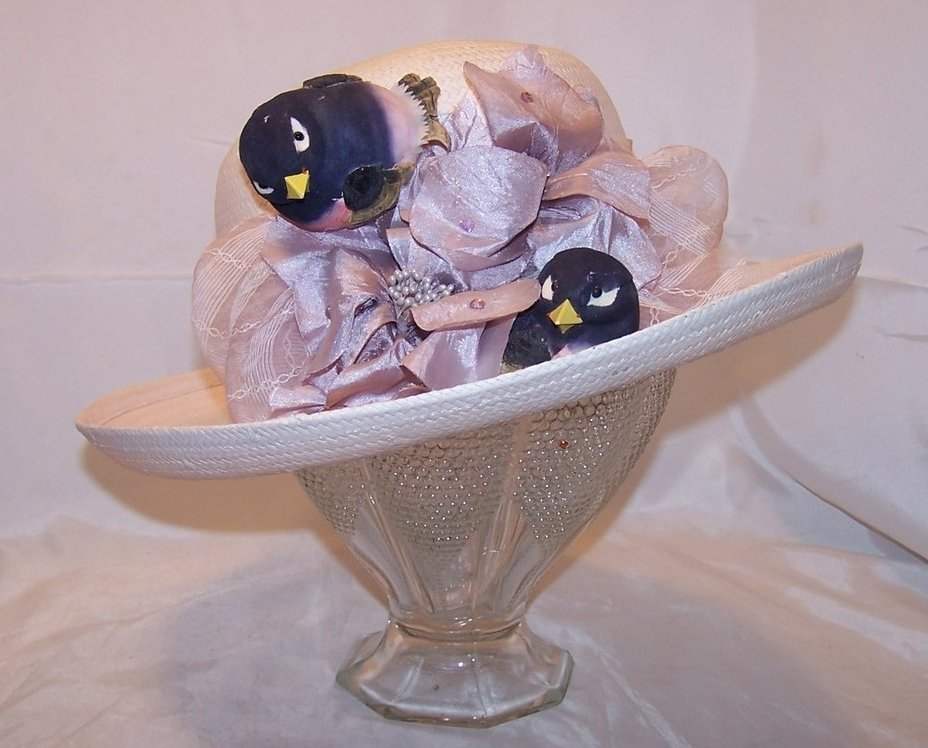 New Lilac Purple Hat w Birds, Flowers, Rhinestones, Cappelli