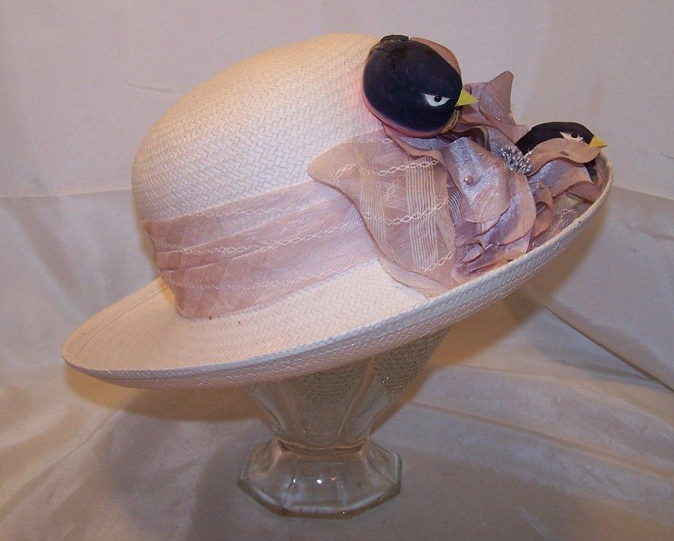 Image 1 of New Lilac Purple Hat w Birds, Flowers, Rhinestones, Cappelli