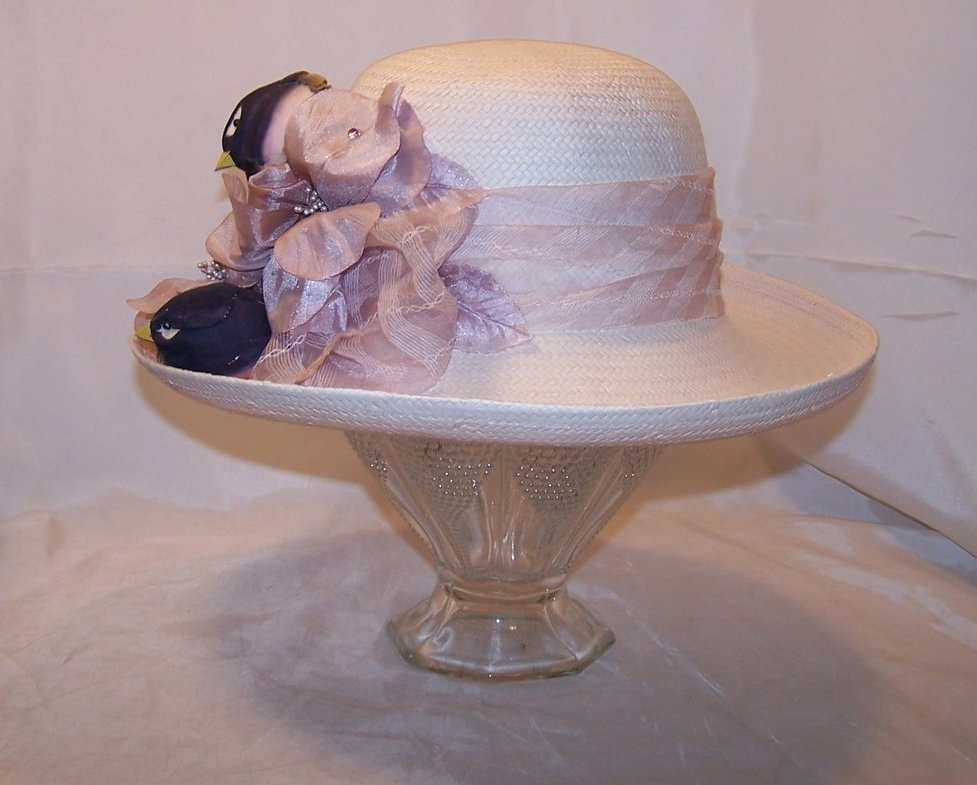 Image 3 of New Lilac Purple Hat w Birds, Flowers, Rhinestones, Cappelli