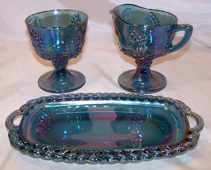Carnival Glass Blue Sugar Creamer Tray Set Original Box