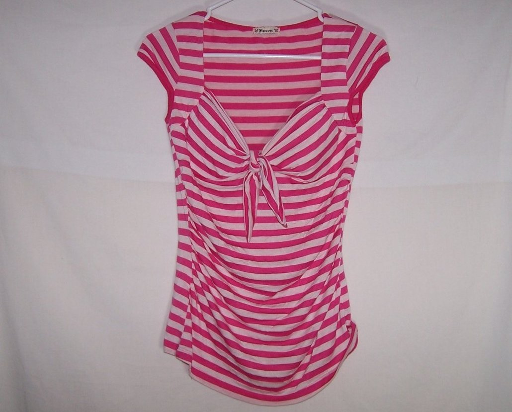 Pink, Cap Sleeved Striped Shirt, Forever