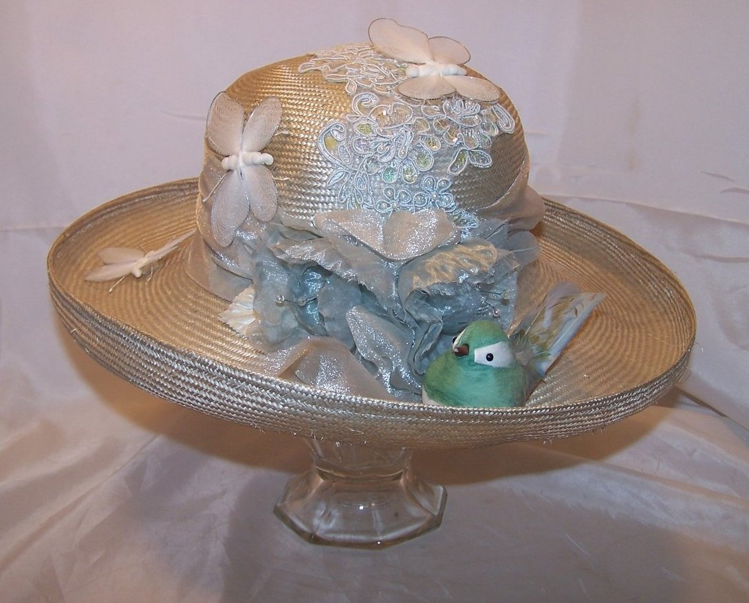 New Hat w Butterflies, Bird, Flowers, and Sequins, Cappelli