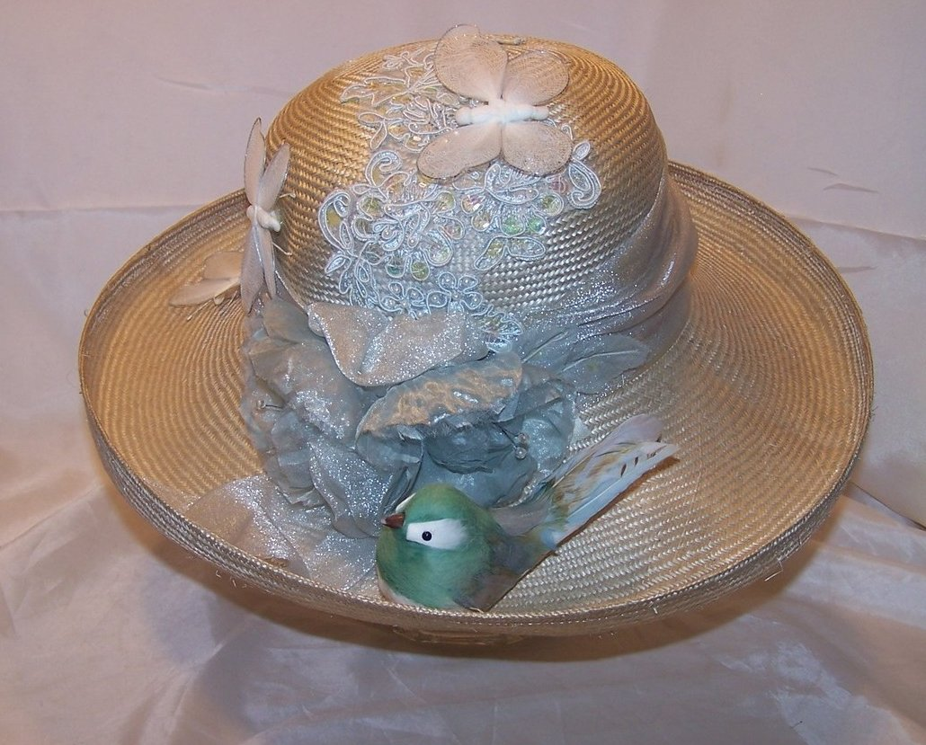 Image 4 of New Hat w Butterflies, Bird, Flowers, and Sequins, Cappelli