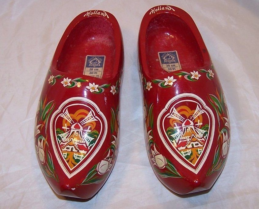 Wooden Dutch Shoes, Clogs, w Tulips, Windmills, Holland