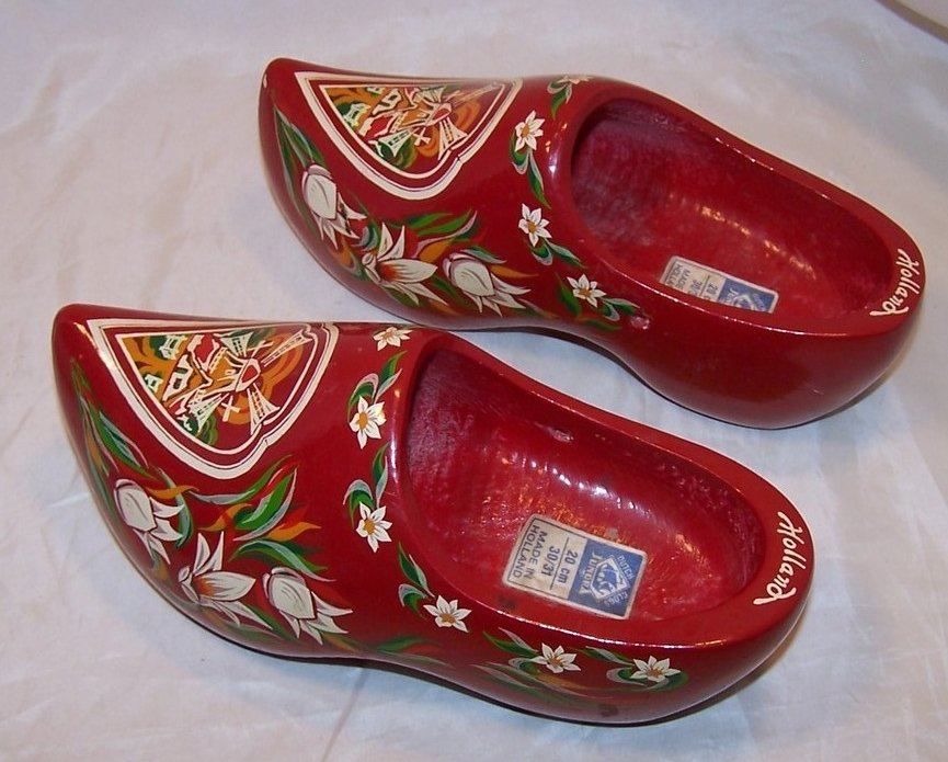 Wooden Dutch Shoes Clogs W Tulips Windmills Holland