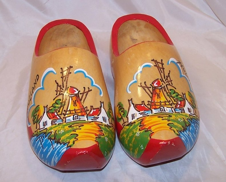 Wooden Dutch Shoes Clogs W River Windmill Houses Holland