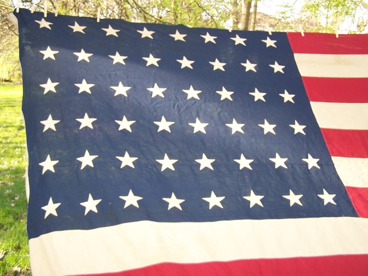 Image 1 of WWII Era 48 Star American Flag Sewn Cloth, Garrison Size