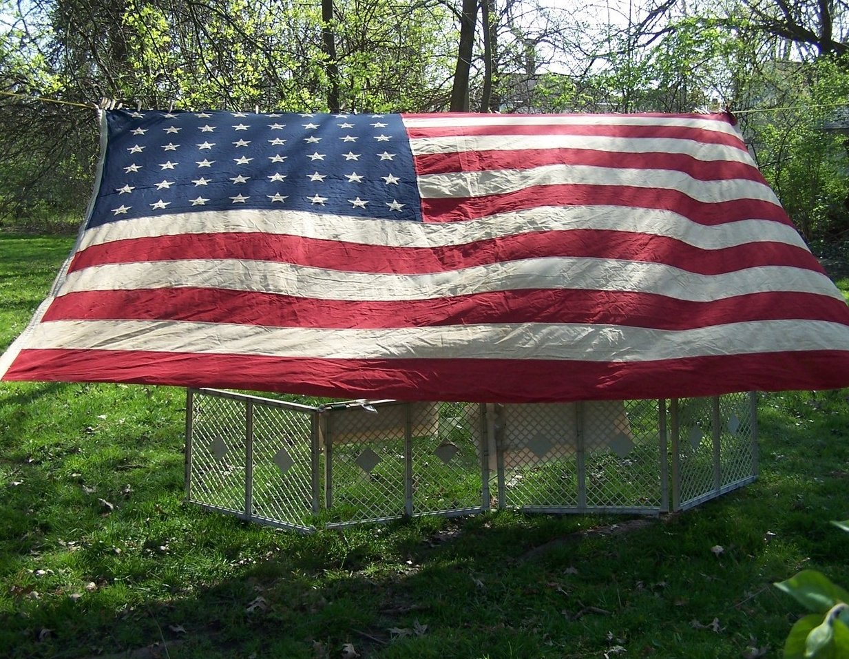 Image 2 of WWII Era 48 Star American Flag Sewn Cloth, Garrison Size