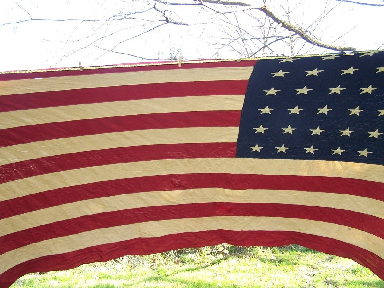 Image 4 of WWII Era 48 Star American Flag Sewn Cloth, Garrison Size
