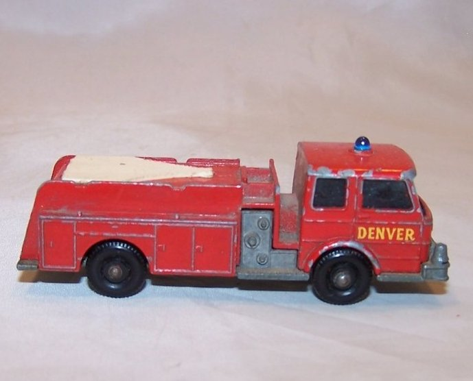 Lesney Matchbox Fire Truck, Die Cast Toy, Hard Miles