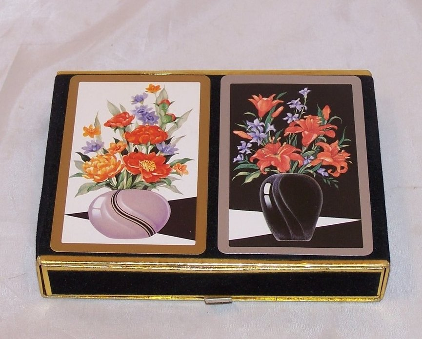 Playing Cards, Double Deck Vntg New, Orig Velvet Box, Congress