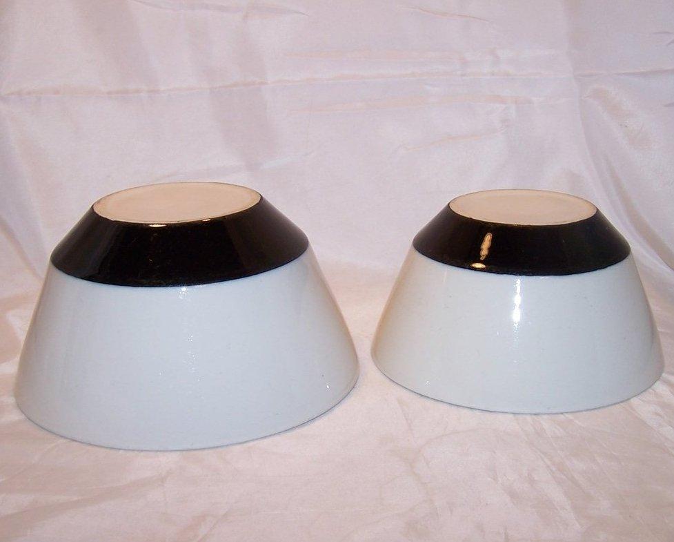 Stoneware Mixing Bowl Set, Black and White, Vintage